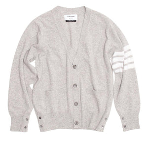 Find an authentic preowned Thom Browne Light Grey Cashmere V-Neck Cardigan size M at BunnyJack, where a portion of every sale goes to charity.