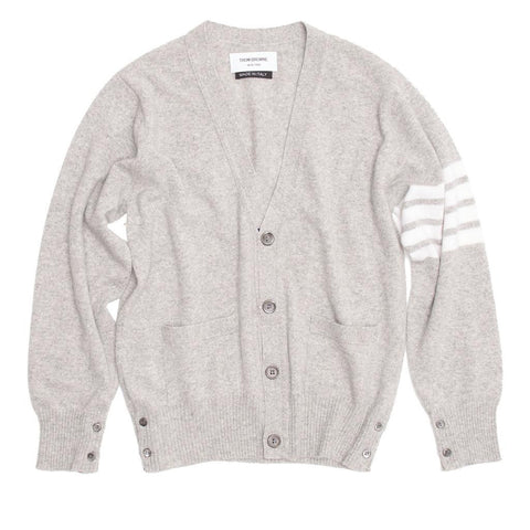 Thom Browne Light Grey Cashmere V-Neck Cardigan, size M