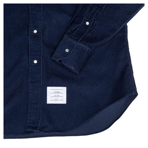 Find an authentic preowned Thom Browne Denim Blue Corduroy Shirt For Man size 4 at BunnyJack, where a portion of every sale goes to charity.