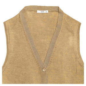 Find an authentic preowned Prada Olive Silk Sleeveless Cardigan size 44 (Italian) at BunnyJack, where up to 50% of each sale price is donated to charity.