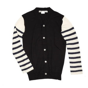 Comme Des Garcons Black & Ivory Striped Cardigan, Size M