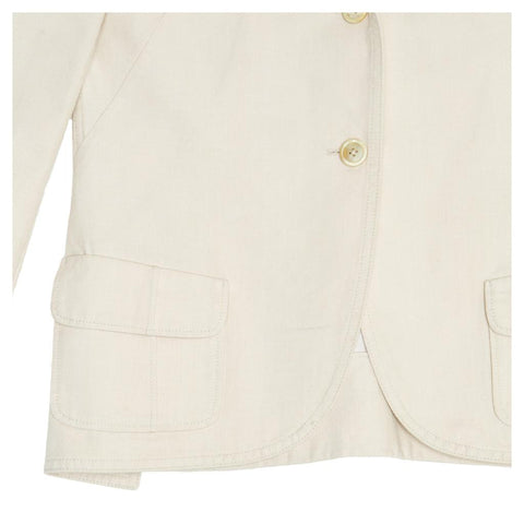 Find an authentic preowned Jil Sander Ivory Cotton Blazer, size 40 (French) at BunnyJack, where a portion of every sale goes to charity.