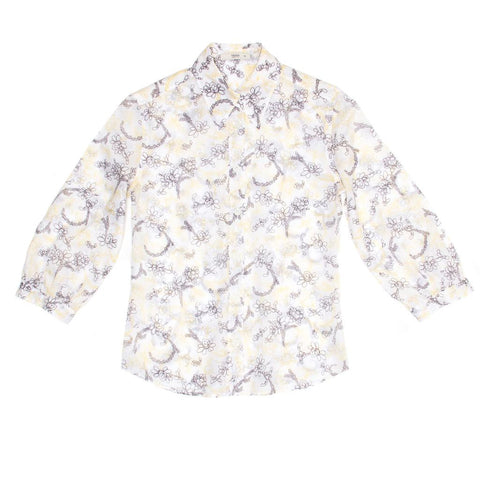 Find an authentic preowned Prada White Yellow & Brown Floral Top, size 46 (Italian) at BunnyJack, where up to 50% of each sale price is donated to charity.