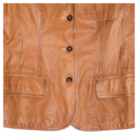 Find an authentic preowned Jil Sander Tan Leather Blazer, size 40 (French) at BunnyJack, where a portion of every sale goes to charity.