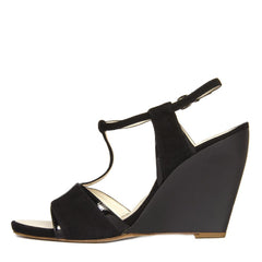 Find an authentic preowned Jil Sanders Black Suede & Leather Wedge Sandals, size 41 (Italian) at BunnyJack, where a portion of every sale goes to charity.