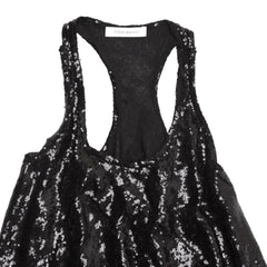 Find an authentic preowned Pierre Balmain Black Sequin Racer Tank size XS at BunnyJack, where a portion of every sale goes to charity.