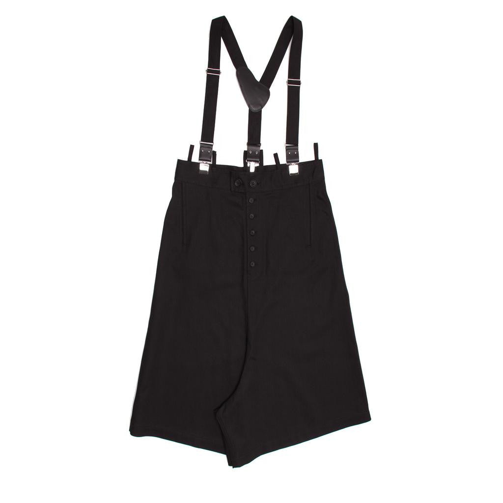 Black denim culottes with suspender