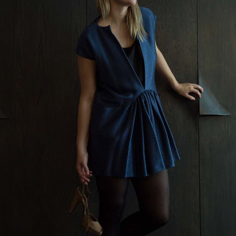 Blue Woven Drop Waist Dress