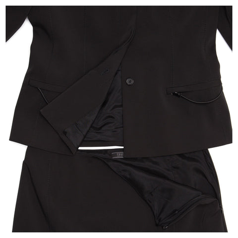 Find an authentic preowned Prada Black Skirted Suit size 46 (Italian) at BunnyJack, where up to 50% of each sale price is donated to charity.