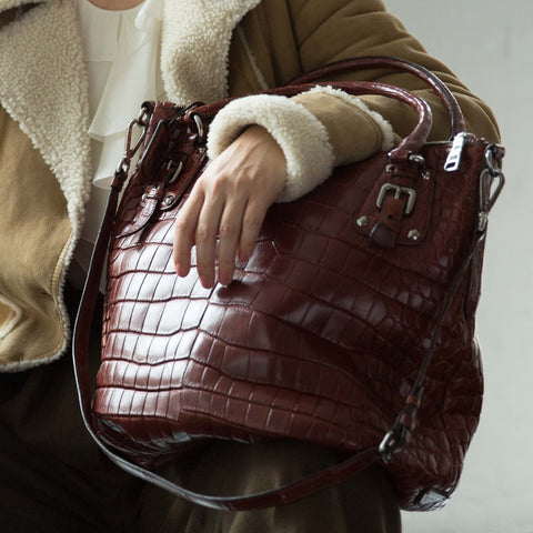 Prada Red Crocodile Sac Style Bag