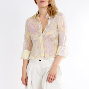 Chanel Multicolor Sheer Cotton Shirt, size 42 (French)