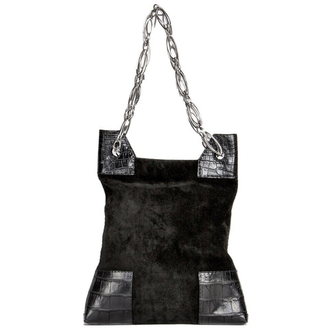 Buy a first edition VBH black suede crocodile bag on BunnyJack.