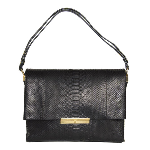 Find an authentic preowned Celine Black Snake Skin Medium Bag at BunnyJack, where a portion of every sale goes to charity.