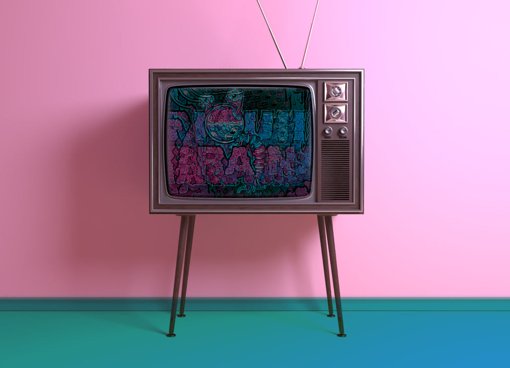 Vintage TV with a static Liquid Brains picture
