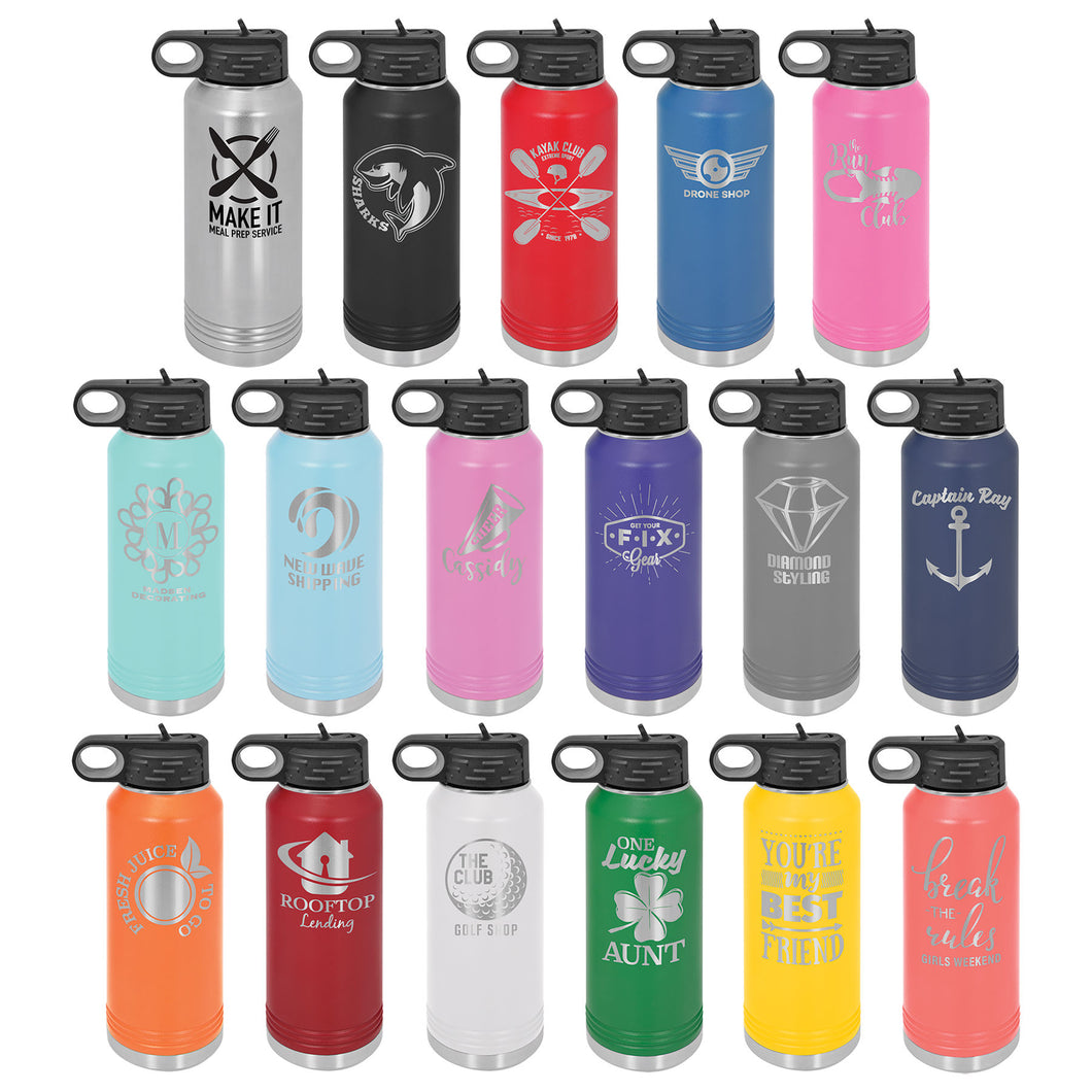 32oz Laser Engraved Insulated Water Bottle