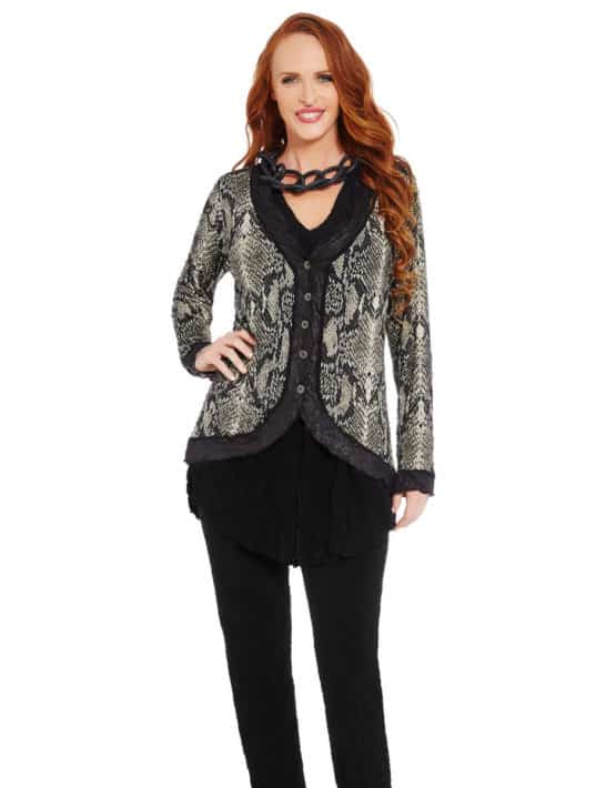 Woman In Fitted Snake Print Cardi
