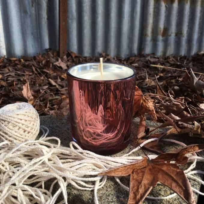 Candle Outdoors In Autumn