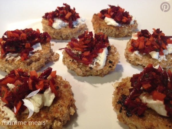 Garlic Toasts with Beet Salad & Goat Cheese