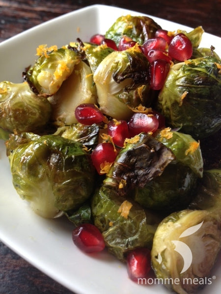 Roasted Brussels Sprouts w/ Pomegranates & Honey Thyme Vinaigrette