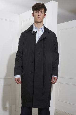 Raf Simons Coat With Strap Around Collar Black