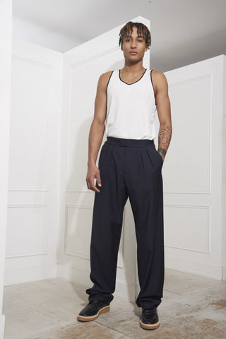Raf Simons Wide Pants With Buckles on Waistband Dark Navy