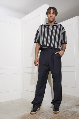 Raf Simons Oversized Cropped Polo With Vertical Stripes