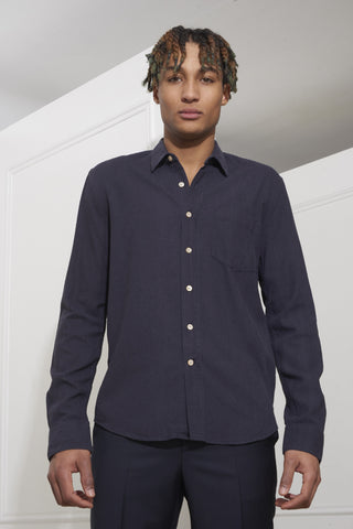 Our Legacy Classic Shirt Navy Raw Silk