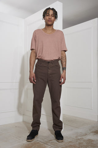 7D Twenty-Three Cotton-Linen Trousers Brown