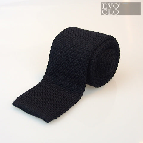 Knitted Black Wool Tie