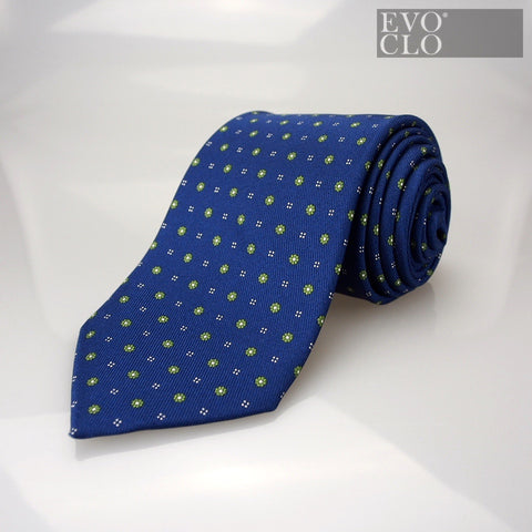 Marine Blue Silk Tie with Florals