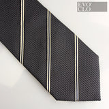 Striped Coal Silk Tie - Deep Woven