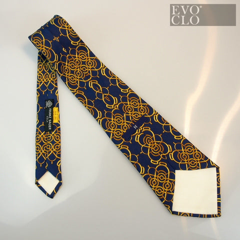 Hermes Vintage Geometric Blue and Yellow Tie