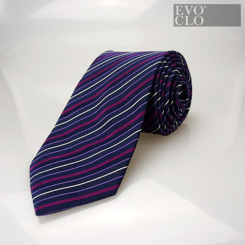 Royal Blue Silk Tie with Stripes