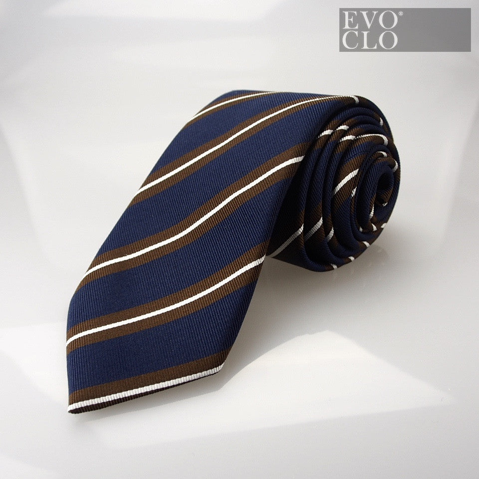 Navy and Chestnut Silk Tie with Stripes