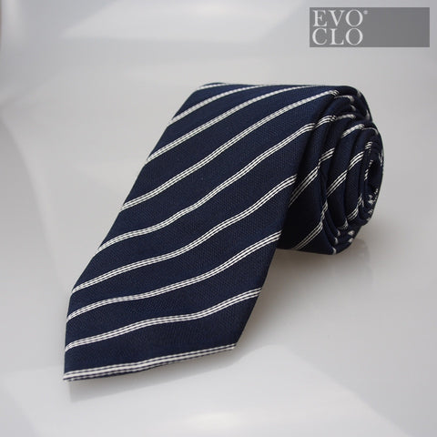 Deep Blue Tie with White Stripes