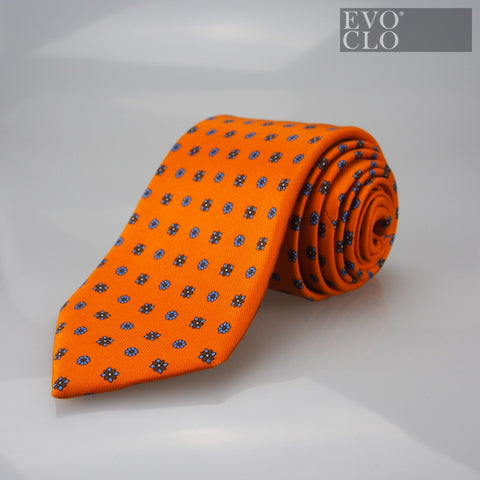 Tangerine Silk Tie with Florals