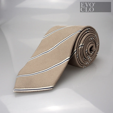 Burnt Gold Silk Tie with Stripes