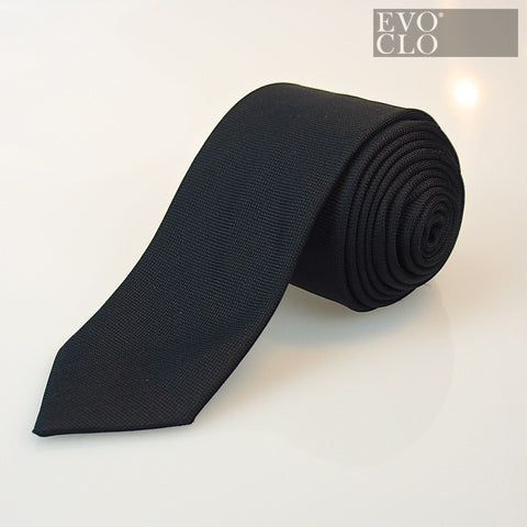 Ultra Skinny Black Silk Tie