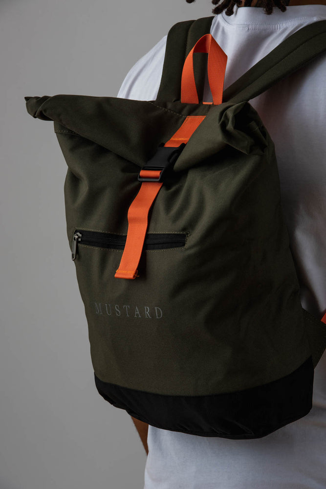 Mens Roll Top Backpack in Army Green