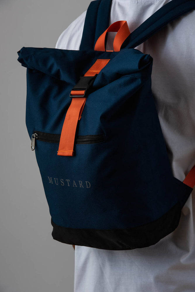 Mens Roll Top Backpack in Navy