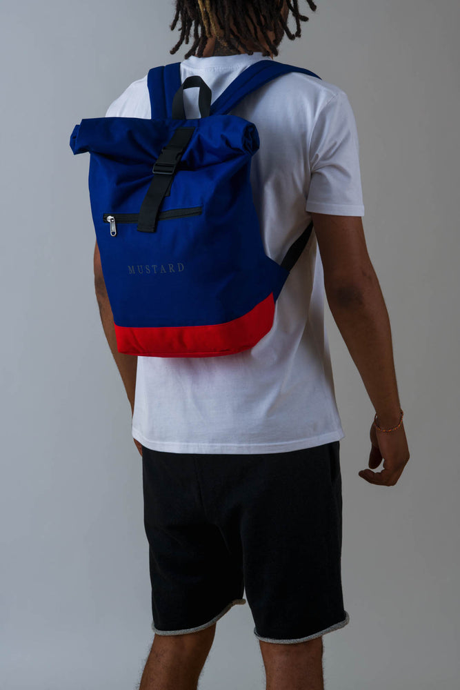 Mens Roll Top Backpack in Royal Blue