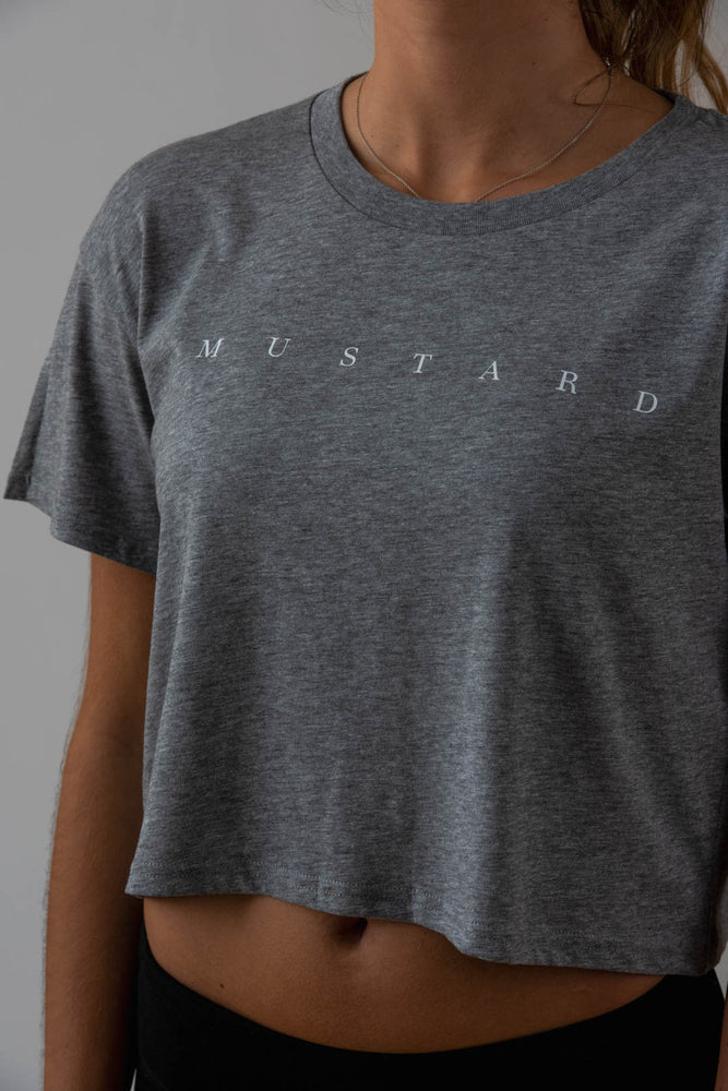 Load image into Gallery viewer, Ladies Axel Crop Tee in Grey