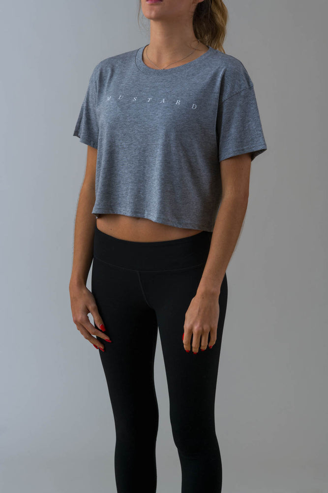 Ladies Axel Crop Tee in Grey