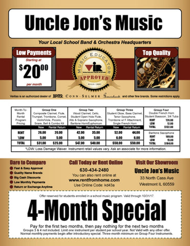 Uncle Jon's Music Band & Orchestra Rental Flyer