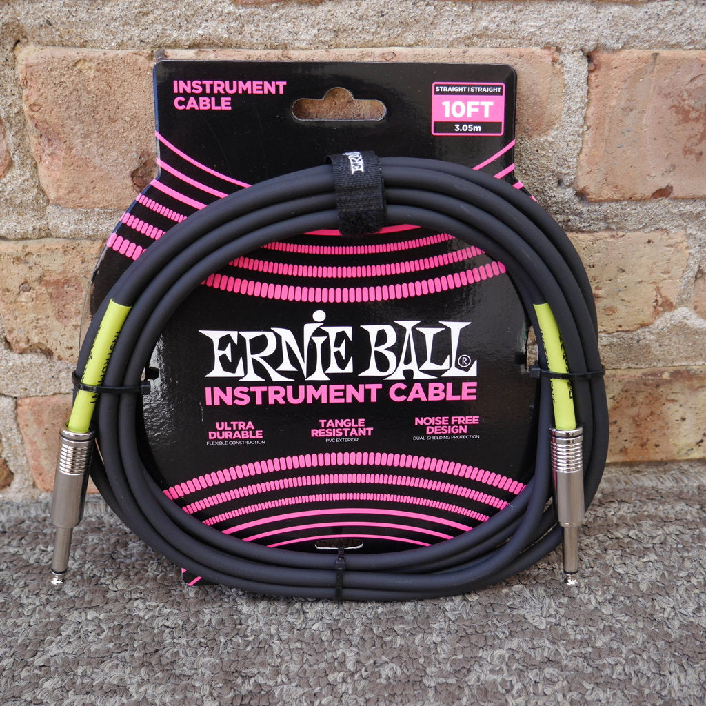 Ernie Ball 10ft Straight Straight Inst Cable Black