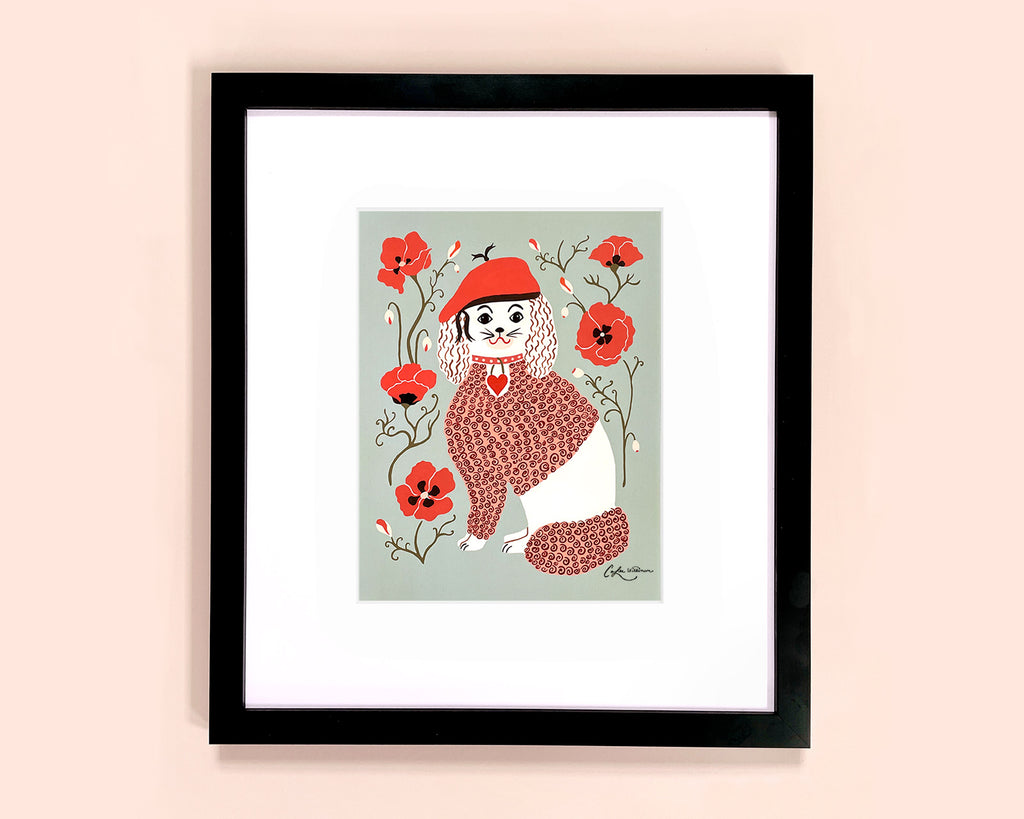 Framed art print of a dog with a red beret and red poppies by Colee Wilkinson