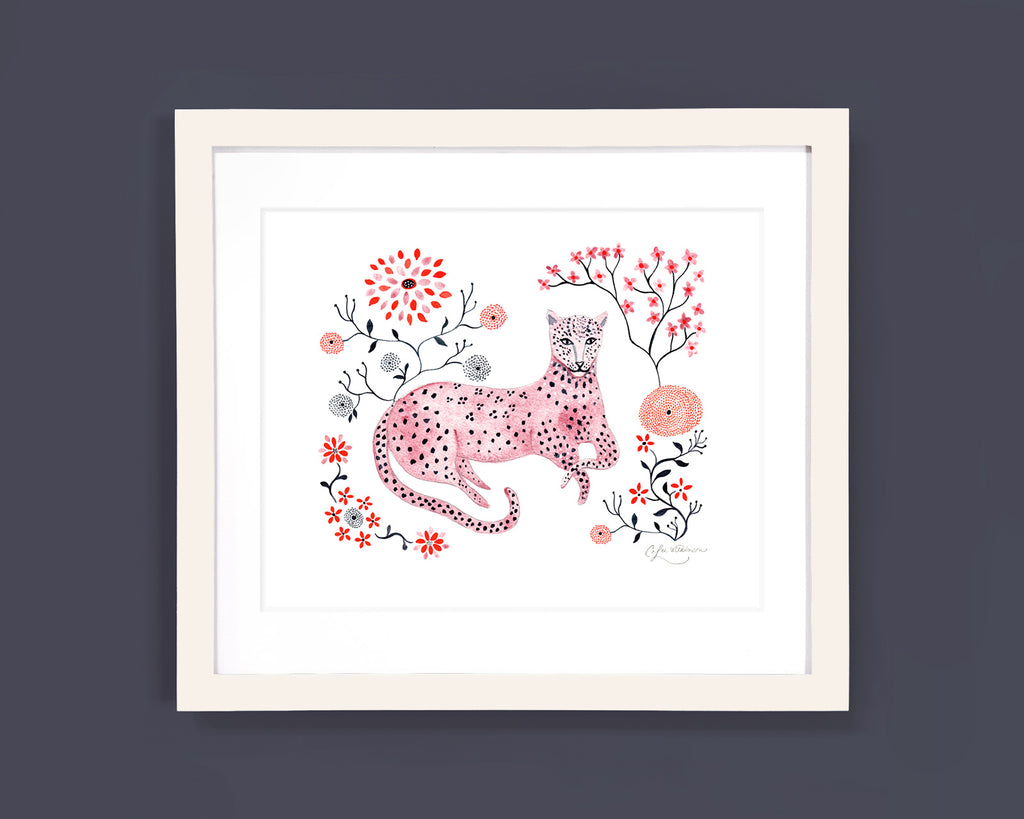 Framed art print of pink leopard and flowers by Colee Wilkinson