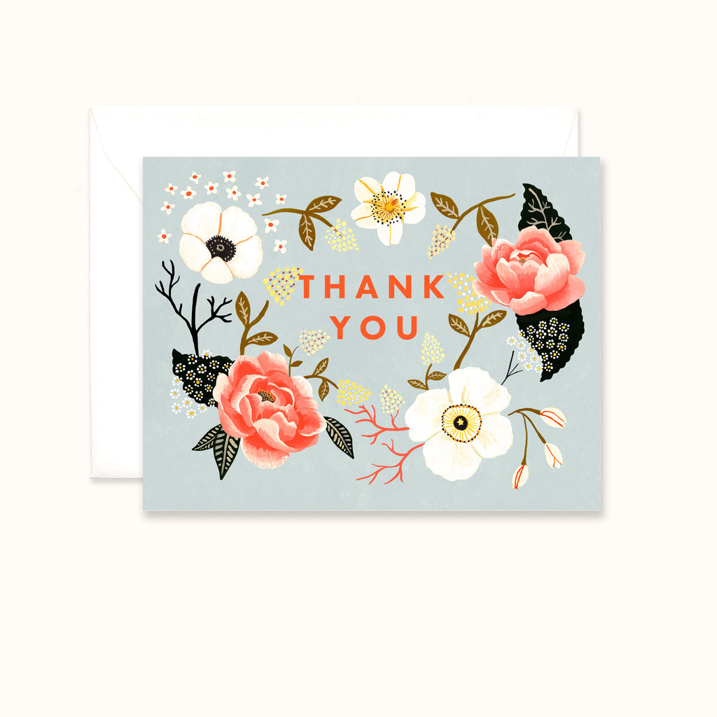 Floral wreath thank you greeting card by Colee Wilkinson