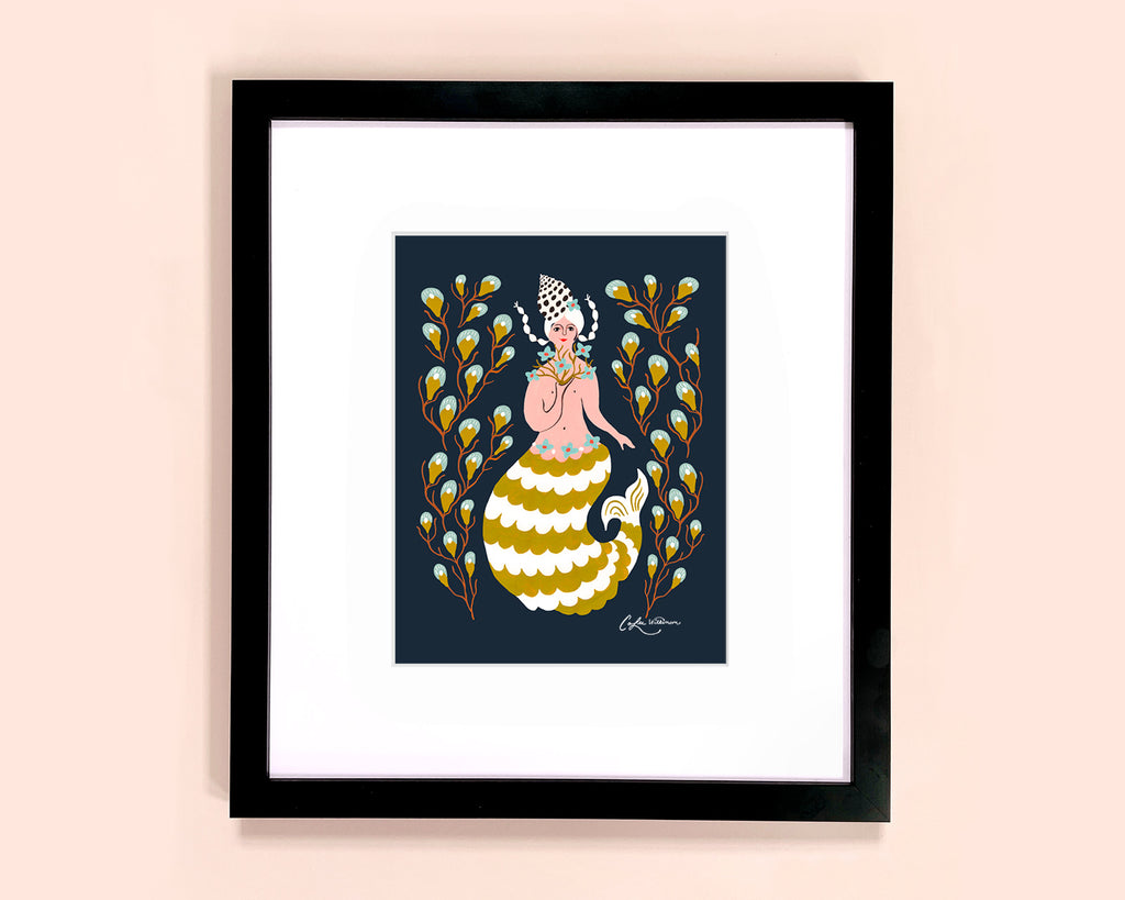 Mermaid with seaweed illustrated art print by Colee Wilkinson