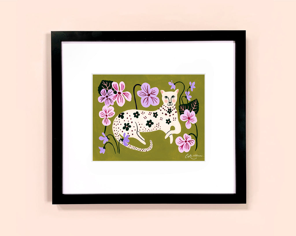 Flower-spotted leopard illustrated art print by Colee Wilkinson